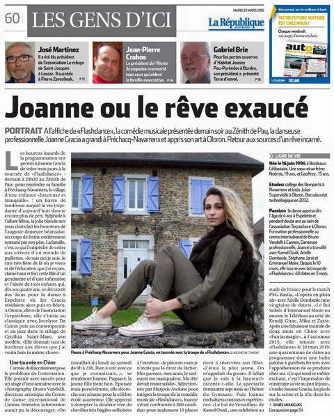 """Article de presse """"La République des Pyrénées"""" Mars 2016"""