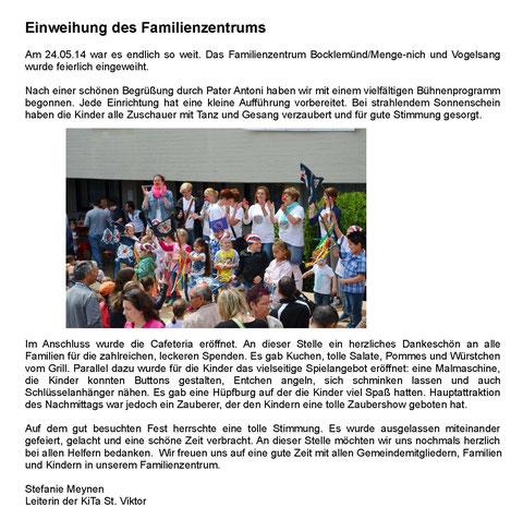 Artikel in den Pfarrnachrichten von Kita-Leitung Frau Meynen, St. Viktor