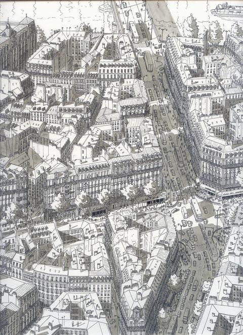 Strassen in Paris, Tusche und Aquarell