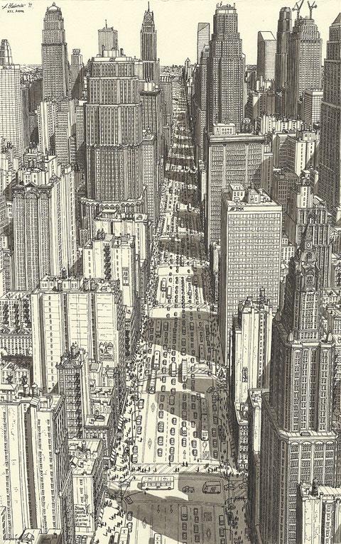 Bild von Manhattan. Tusche und Aquarell