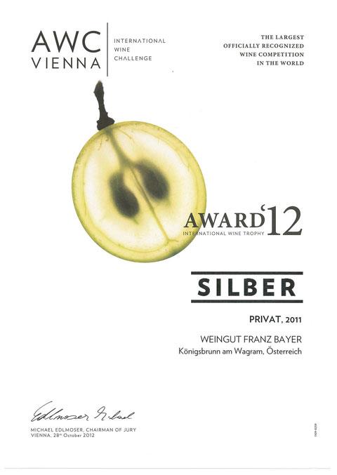 Grüner Veltliner Privat Weingut Franz Bayer Königsbrunn am Wagram AWC Vienna Silber