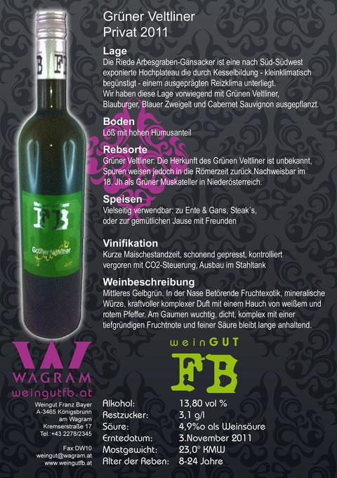 Grüner Veltliner Privat Weingut Franz Bayer Königsbrunn am Wagram