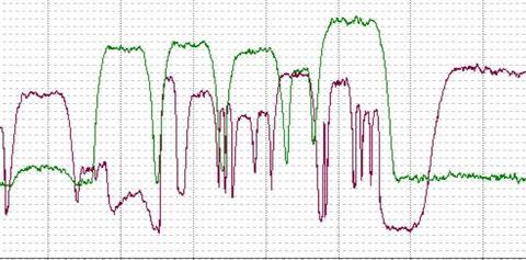 Пример частотного спектра сигнала с фазовой модуляцией со спутника связи. На рисунке показаны спектры сигналов с ортогональными модуляциями на одинаковых частотах.