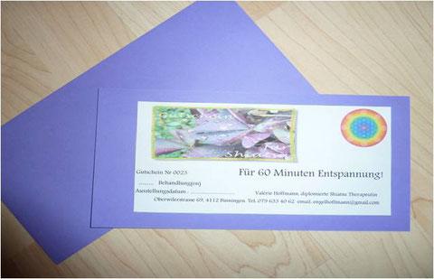 Geschenkgutschein - Praxis Shiatsu Lotus in Flüh, Baselland - Shiatsu für Erwachsene, Kinder und Jugendliche