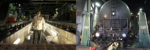 Unter und vor dem DBK-Wasserwagen. Dess HU wurde am Samstag abgeschlossen.