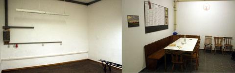 Links der alte Aufenthaltsraum, rechts der neue.