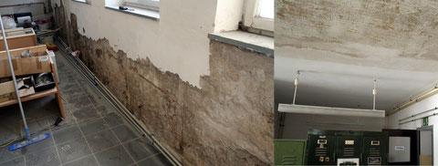 Links die Kellerwand ohne Putz, rechts sieht man die gespachtelte Decke des Kellerraums.