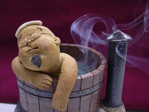 山頭火の陶人形 作品名:ふぁー、いい気持ち