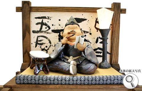 戦国武将、明智光秀の陶人形