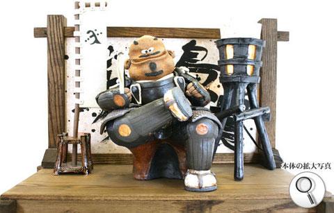 戦国武将、斎藤道三の陶人形