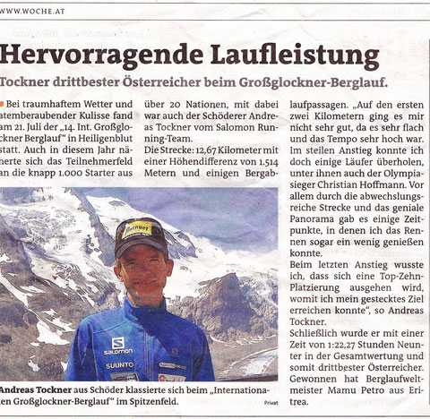 Murtaler Zeitung Glocknerberglauf Juli 2013