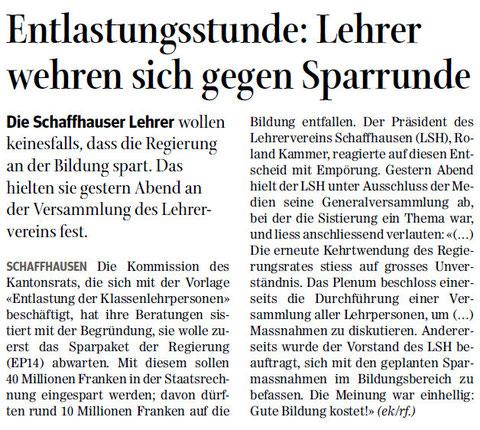 Quelle: Schaffhauser Nachrichten, 13. Juni 2014