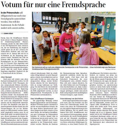 Quelle: Schaffhauser Nachrichten, 18.02.2014