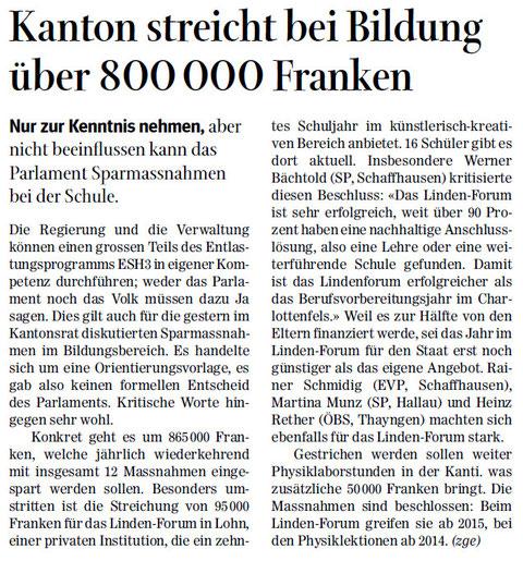 Quelle: Schaffhauser Nachrichten, 29.10.2013