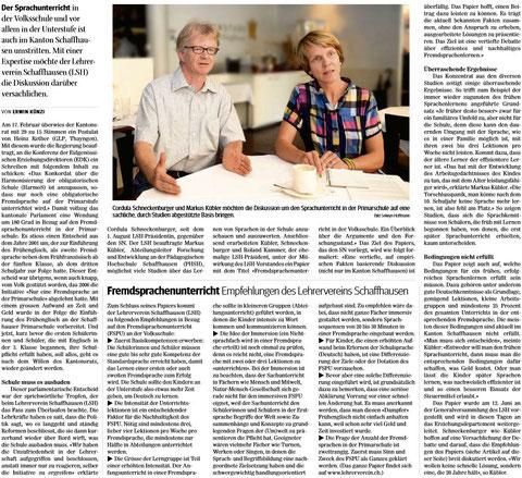 Quelle: Schaffhauser Nachrichten, 08.08.2014