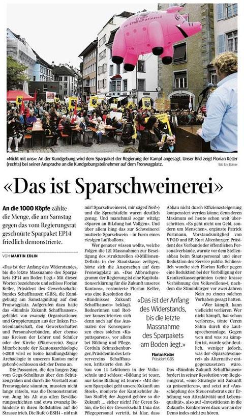 Quelle: Schaffhauser Nachrichten, 20. Oktober 2014