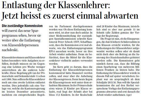 Quelle: Schaffhauser Nachrichten, 10. Juni 2014
