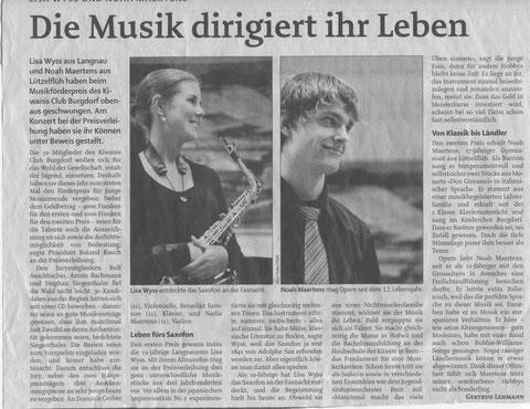 Artikel in der Berner Zeitung, Oktober 2010