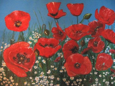 Mohnblumenfeld  Acryl,   40x50 cm