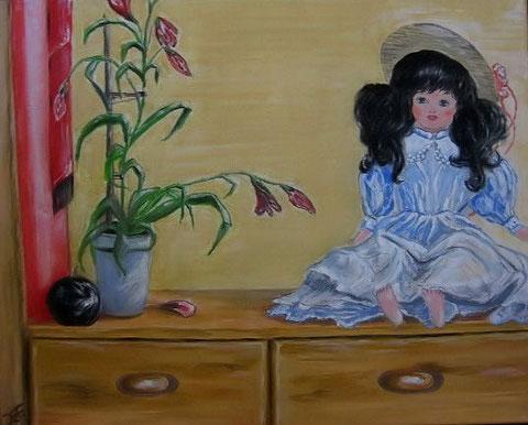Puppe  40x50 cm Acryl auf Leinwand im Keilrahmen