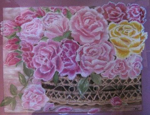 Rosen im Korb, Pastellkreide 40x50 cm