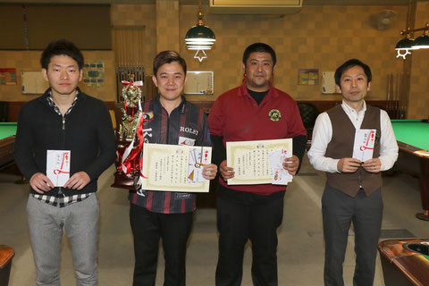 Lo Li wen (2nd from the left) won 22th Kyoto Open (9-ball)