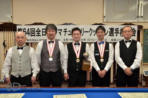 左から、4位加藤、2位中島、優勝古屋敷、3位本松、5位坂廼辺