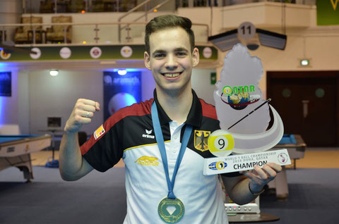 Joshua Filler won 2018 9-ball World Championship ※Photo Courtesy of WPA