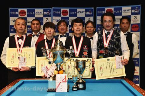 前回大会(2019年)の入賞者。優勝は新井達雄(前列右2)