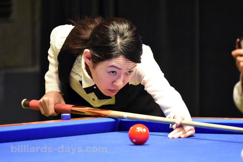 Orie Hida from Japan won 2017 World Championship Ladies 3-Cushion. 4 times ! 写真は今年の全日本選手権