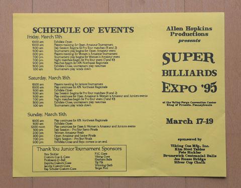 1995年『第3回』のプログラム。男子プロツアーが外れるなどゴタゴタがあったため印刷が間に合わず、レターサイズ3つ折りの簡素なものになった