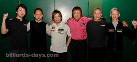 東京最終予選通過6名。左から、小笠原アマ、望月アマ、津堅、白岩、幸、塙