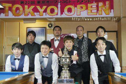 Kim Hyung kon (from Korea,  right2) won 22nd 3-Cushion Tokyo Open Photo : On the hill !