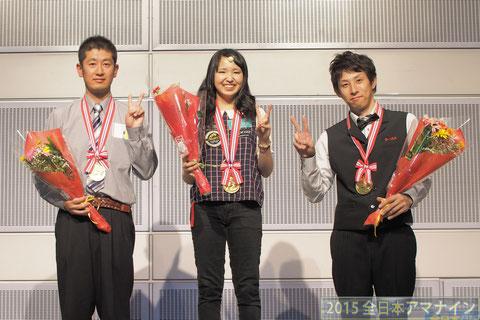 左から、B級優勝坪野、女子級優勝平口、A級優勝大塚