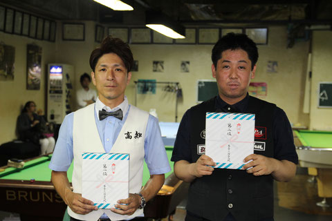 昨年の勝者(挑戦者):溝渕一洋(左)と2位の喜島安広