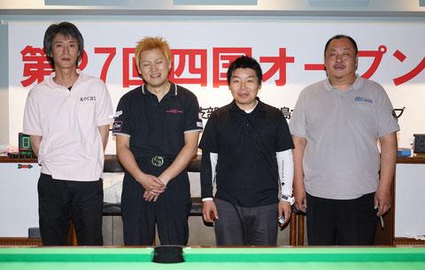 左から、3位中村アマ、優勝青木プロ、2位吉松アマ、3位久保田プロ 写真提供:NBA四国