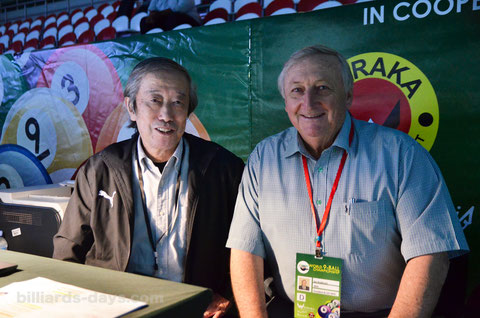 2015年『9ボール世界選手権』(カタール)での藤間さん。右はWPAのI・アンダーソン