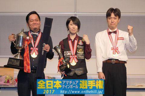 Winners of each division. 2017 All Japan Amateur 9-ball Championship