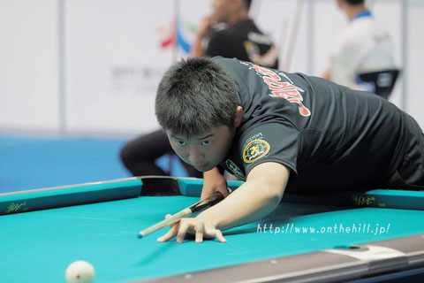 Taiki Tanaka from Japan won 2016 Asian Junior 9-ball Championship. Photo Courtesy of On the Hill !