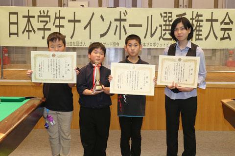 「小学生・中学生」部門優勝は織田賢人(左2)