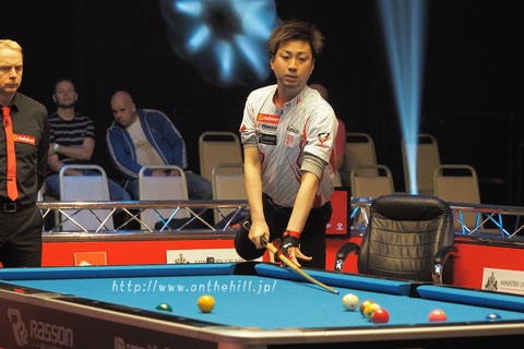 Japan's Naoyuki Oi has advanced to the quarter-finals of 2017 World Pool Masters. Photo : On the hill !