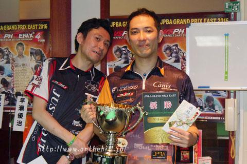 Yuji Hayase (right) won JPBA Grand Prix East stop#4 in Tokyo.