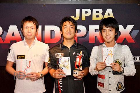 昨年の年間Top 3。左から3位赤狩山幸男、MVP栗林達、2位土方隼斗