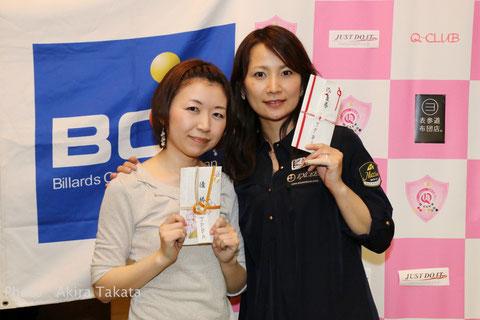 3月の女子ツアー第1戦のファイナリスト。左から優勝:青木、2位:光岡 Photo :  Akira Takata