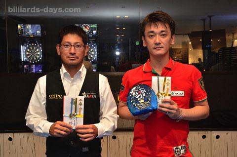 2015年BAATA OPEN MAX部門優勝:浦岡隆志(右。JPBA)、ハマチ部門優勝:大城武三(左)
