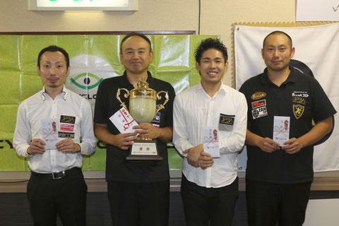 Yoshihiro Kitatani (2nd from left) won JPBA Grand Prix West stop#5