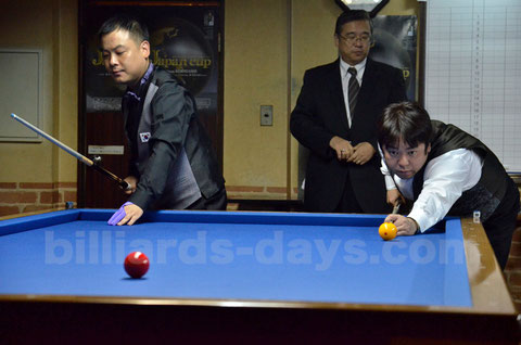 Cho Jae-ho (left) won 2015 3-Cushion Japan Cup