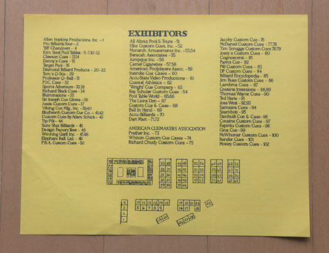 1995年『第3回』のプログラムの出展リスト。PREDATORは前身の「クローソンキュー」名義で出展。コグノセンティ、ジナ、ザンボッティ、ジョスウェスト、マクダニエル、スクラグス、シューラ―など予算が許せば何本でも買えた時代だった