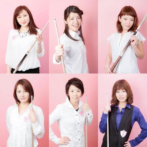 上段:EASTチーム。左から曽根恭子、佐藤千晶、工藤孝代 下段:WESTチーム。左から光岡純子、河原千尋、久保田知子