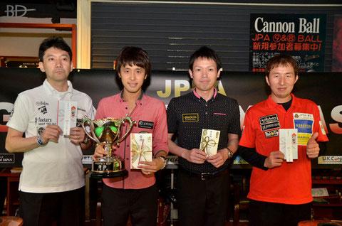 左から、3位鈴木清司、優勝土方隼斗、2位赤狩山幸男、3位鈴木淳